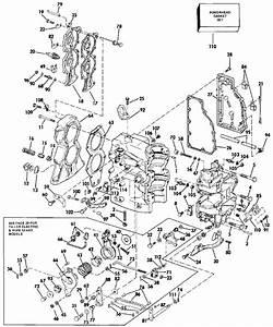 Johnson Cylinder  U0026 Crankcase Parts For 1986 40hp J40elcde