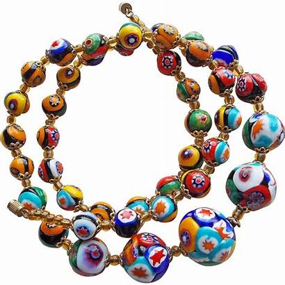 Glass Millefiori Necklace Italian Beads Gorgeous Ruby