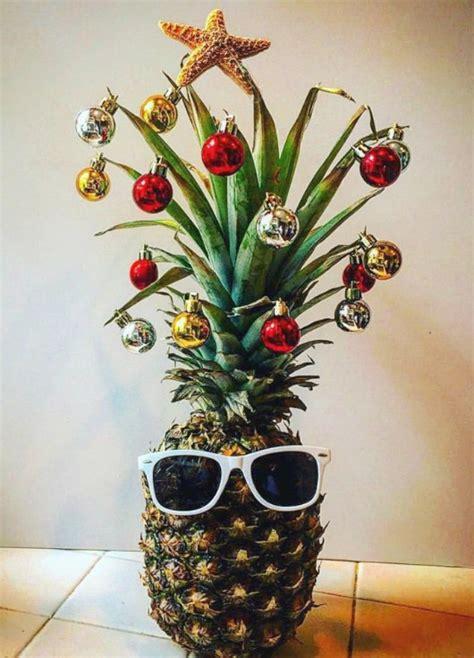 fun pineapple christmas tree idea with a tropical island