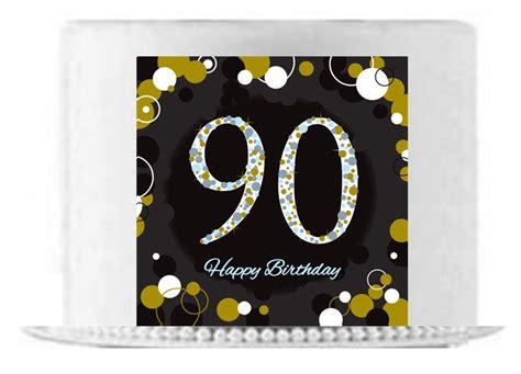 happy  birthday black gold edible cake sidefront