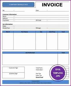 auto repair invoice template excel templates excel With auto repair invoice excel