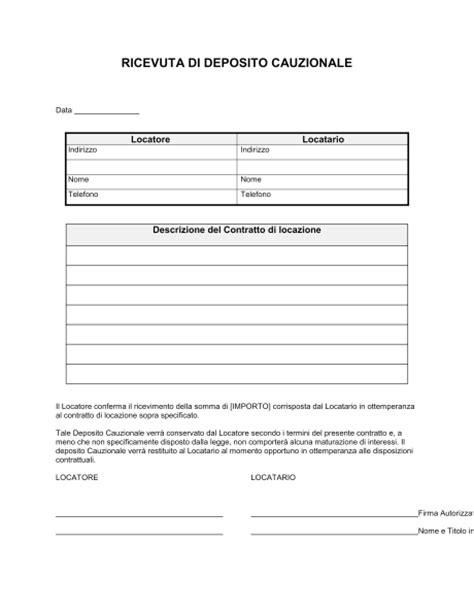 Contratto Di Locazione Box Auto by Ricevuta Deposito Cauzionale Modelli E Esempi Di