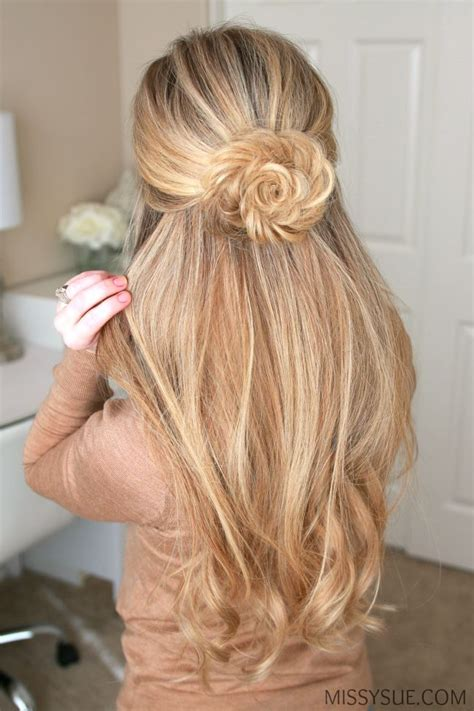 image result for bun half up half hair styles