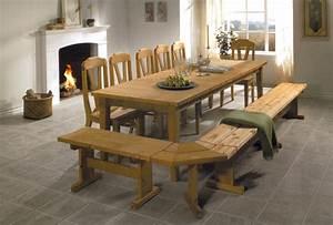 Table De Cuisine En Bois : table en bois massif photo 10 10 table en bois massif avec banquette en bois ~ Teatrodelosmanantiales.com Idées de Décoration