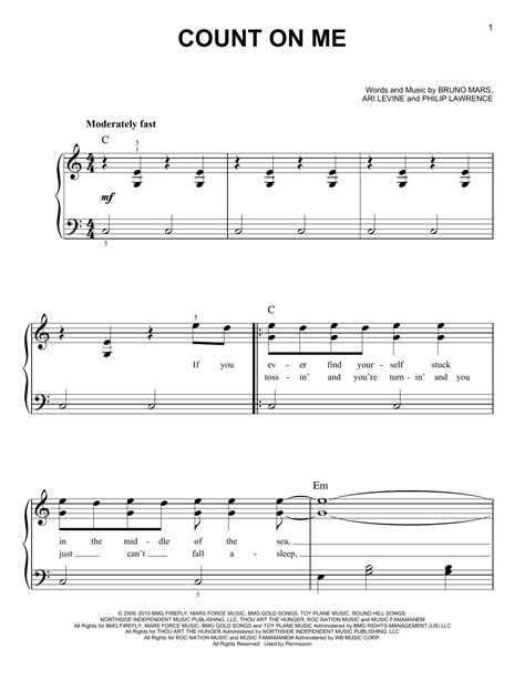 count on me sheet music by bruno mars easy piano 80466