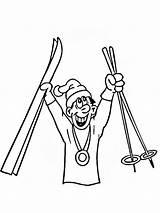 Coloring Skiing Ausmalbilder Ski Kinder Printable Malvorlagen Zum sketch template
