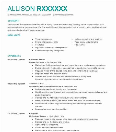 Bartender Description For Resume by Bartender Resume Sles Bartender Resume Sle On