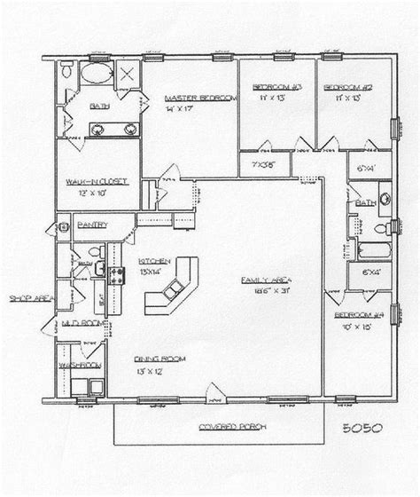 barndominium floor plans  story  bedroom  shop barndominium floor plans cost open