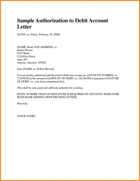 Authorization Letter In Bank Authorization Letter Format For Birth Certificate Authorization by 6 Debit Authority Letter To Bank Format Cashier Resumes