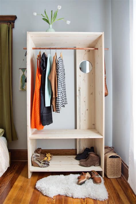 brass clothing rack diy modern wooden wardrobe with copper details shelterness