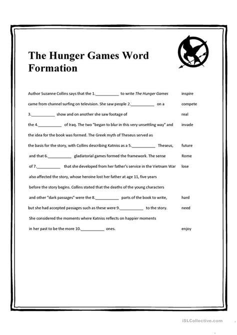 the hunger games word formation worksheet free esl
