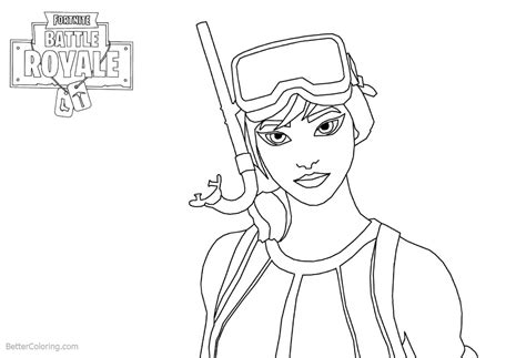 Fortnite Coloring Pages Girl Line Art