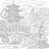 Coloring Pagoda Japanese Chinese Landscape Pages Temple Garden Adult Zentangle Drawing Oriental Sketch Japan Tower Adults Stylized Doodle Etsy Stress sketch template