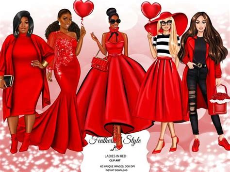 fashion girls clipart  lady  red clipart women