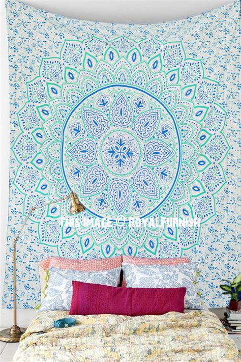 sea green dahlia hippie mandala tapestry wall hanging