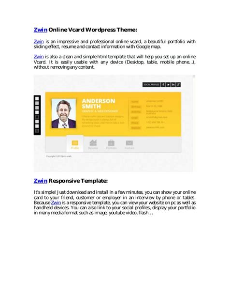 zwin  vcard wordpress theme