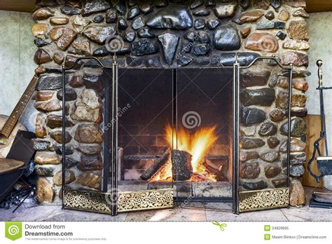 Stone Fireplace Stock Image Image Of Leisure Smoke