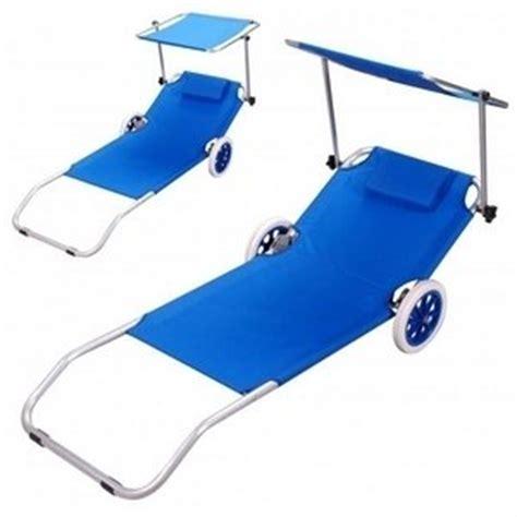 chaise longue avec ombrelle transat sur roulettes pour plage ou jardin fr jardin