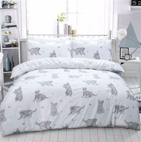 cat duvet cover cat kitten printed duvet quilt bedding set grey linens