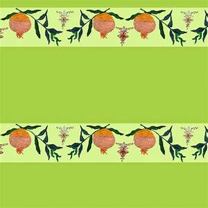 Persephone's pomegranate border on green fabric - east ...