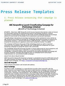 quick start guide for your nonprofit technology With conference press release template