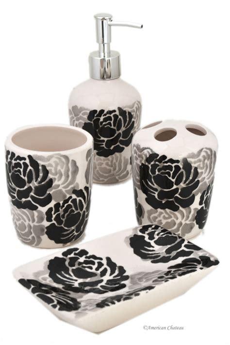Set 4 Piece Blackgreywhite Floral Ceramic Bathroom