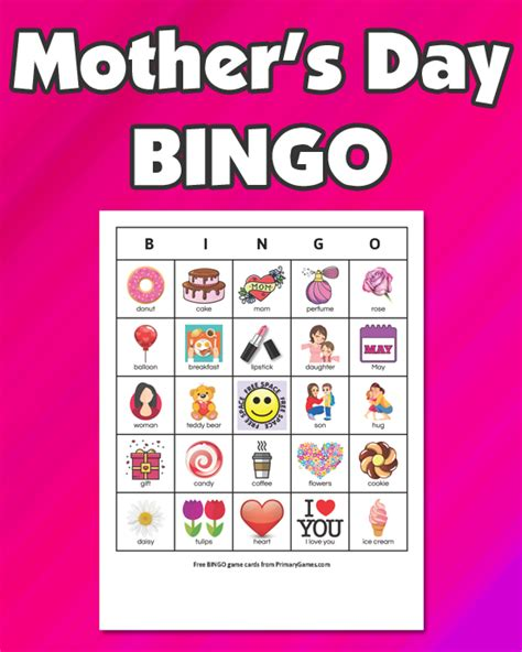 mothers day bingo game  printable game  primarygames