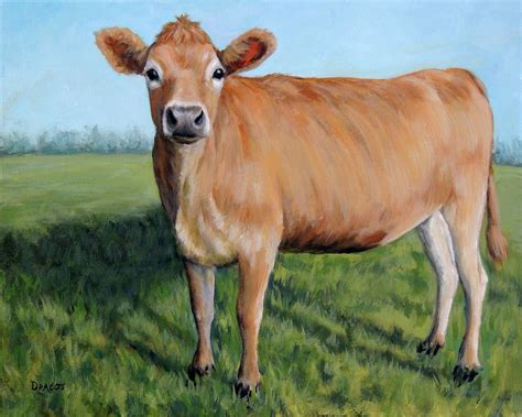 Jersey Cow Standing In Field Painting By Dottie Dracos