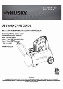 Husky 0300816 8g 150 Psi Hotdog Air Compressor Manual