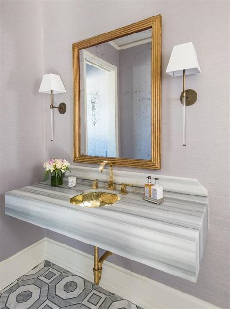gray  gold powder room  gray striped marble sink
