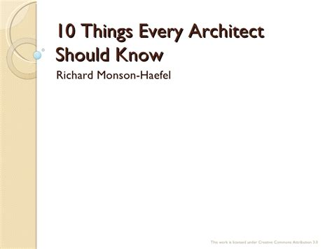 O'reilly Webcast Ten Things Every Software Architect Should Know