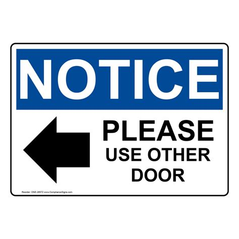 use other door osha notice use other door sign with symbol one 28572