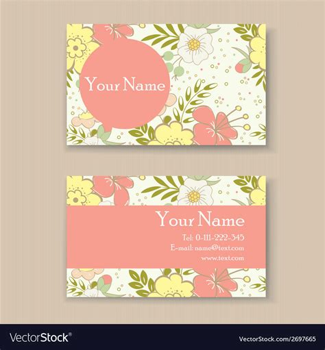business card  floral background royalty  vector