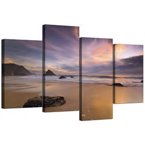 Yellow And Grey Bathroom Accessories Uk by Canvas Prints Of A Beach Sunset For Your Kitchen 4 Panel
