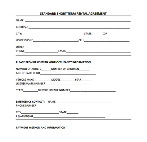 short term rental application form short term rental contract form 9 download free