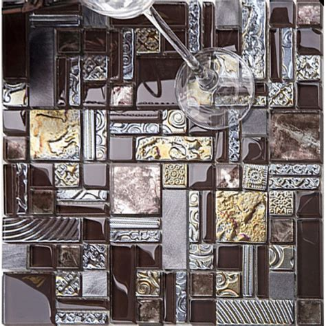 brown mosaic tile crystal glass tile  stainless steel