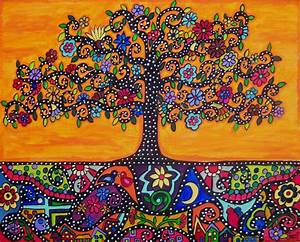 Mexican folk art orange tree of life eternal roots ...