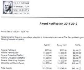College Financial Aid Award Letter Sample
