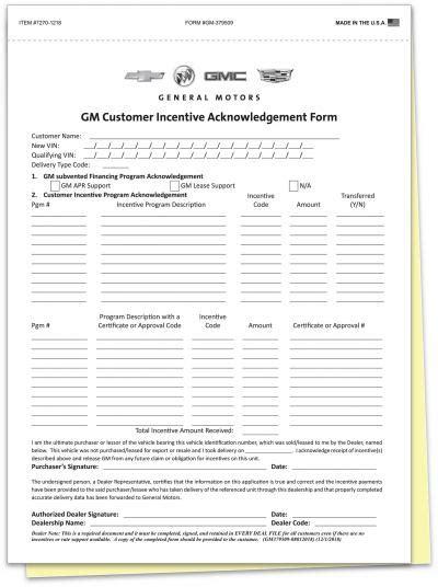 gm customer incentive acknowledgement form