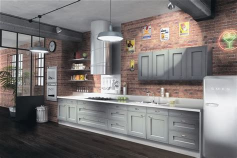 gray cabinets paired  brick wall kitchen kitchens