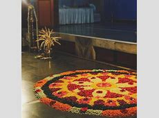 Colourful floral rangoli home decor ideas for Diwali