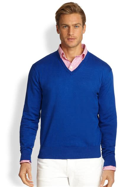 mens v neck sweater polo ralph cotton v neck sweater in blue for
