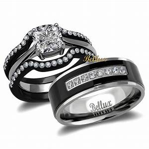 His And Hers Titanium Stainless Steel CZ Bridal Matching
