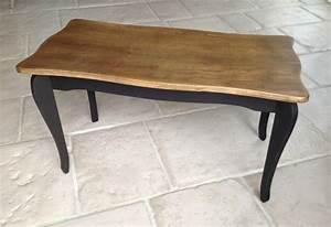 Table Basse Bois Et Noir : patine noire moderne pour une table aux lignes classiques l 39 atelier d 39 ema ~ Teatrodelosmanantiales.com Idées de Décoration