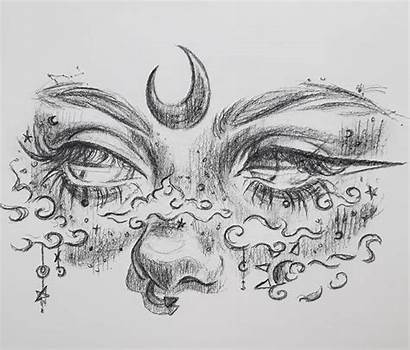 Aesthetic Drawings Draw Eyes Moon Sketches