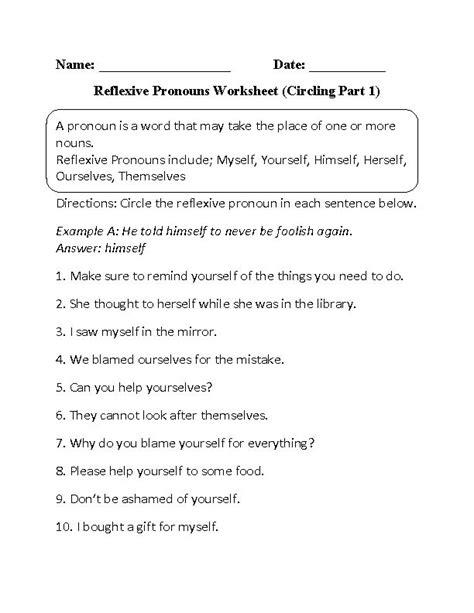 reflexive pronouns worksheet circling part 1 beginner