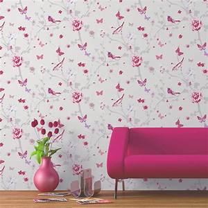 Papier Peint Papillon Oiseau : papier peint intiss branch oiseau rose leroy merlin ~ Zukunftsfamilie.com Idées de Décoration