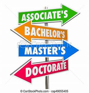 Associates bachelors masters doctorate degrees signs 3d ...