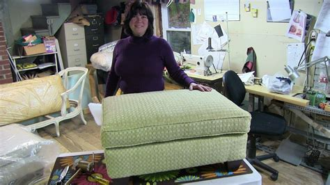 How To Recover Ottoman by Upholstery Quot How To Reupholster A Pillowtop Ottoman Quot