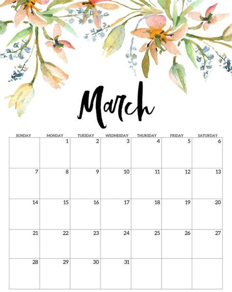 march calendar printable editable template blank